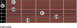 C#11/Gb for guitar on frets 2, 4, 3, 1, 0, 1