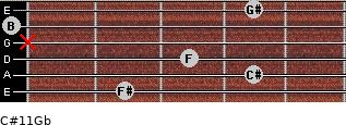 C#11/Gb for guitar on frets 2, 4, 3, x, 0, 4