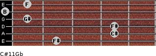 C#11/Gb for guitar on frets 2, 4, 4, 1, 0, 1