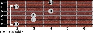 C#11/Gb add(7) guitar chord
