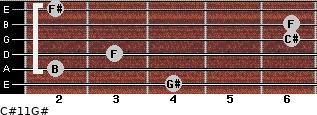 C#11/G# for guitar on frets 4, 2, 3, 6, 6, 2