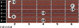 C#11/G# for guitar on frets 4, 2, 4, 6, 6, 2