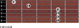 C#11/G# for guitar on frets 4, 4, 4, 4, 2, 1