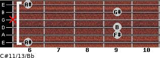 C#11/13/Bb for guitar on frets 6, 9, 9, x, 9, 6