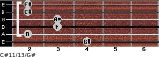 C#11/13/G# for guitar on frets 4, 2, 3, 3, 2, 2