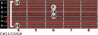 C#11/13/G# for guitar on frets 4, x, 6, 6, 6, 4