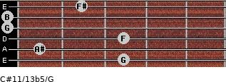 C#11/13b5/G for guitar on frets 3, 1, 3, 0, 0, 2