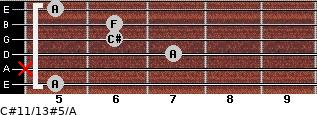 C#11/13#5/A for guitar on frets 5, x, 7, 6, 6, 5