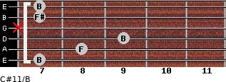 C#11/B for guitar on frets 7, 8, 9, x, 7, 7