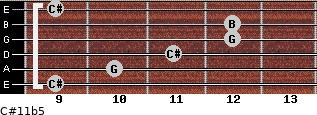C#11b5 for guitar on frets 9, 10, 11, 12, 12, 9