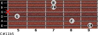 C#11b5 for guitar on frets 9, 8, 5, x, 7, 7