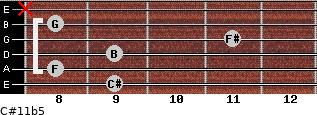 C#11b5 for guitar on frets 9, 8, 9, 11, 8, x