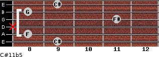 C#11b5 for guitar on frets 9, 8, x, 11, 8, 9
