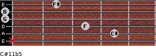 C#11b5 for guitar on frets x, 4, 3, 0, 0, 2