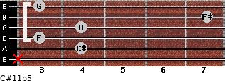 C#11b5 for guitar on frets x, 4, 3, 4, 7, 3