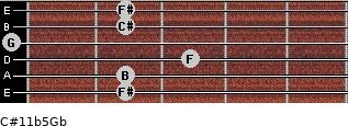 C#11b5/Gb for guitar on frets 2, 2, 3, 0, 2, 2