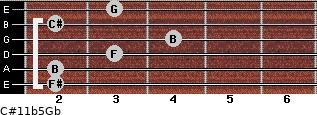 C#11b5/Gb for guitar on frets 2, 2, 3, 4, 2, 3