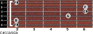 C#11b5/Gb for guitar on frets 2, 2, 5, 6, 6, 2