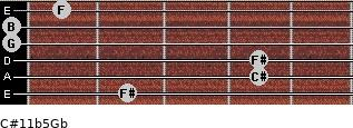 C#11b5/Gb for guitar on frets 2, 4, 4, 0, 0, 1