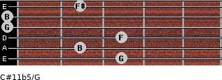C#11b5/G for guitar on frets 3, 2, 3, 0, 0, 2