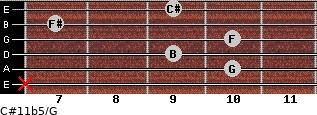 C#11b5/G for guitar on frets x, 10, 9, 10, 7, 9