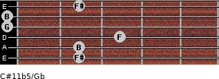 C#11b5/Gb for guitar on frets 2, 2, 3, 0, 0, 2
