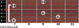 C#11b5sus/B for guitar on frets 7, 10, 9, x, 7, 9