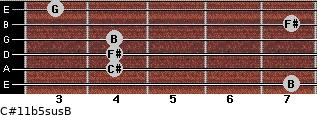 C#11b5sus/B for guitar on frets 7, 4, 4, 4, 7, 3