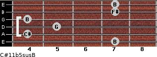 C#11b5sus/B for guitar on frets 7, 4, 5, 4, 7, 7