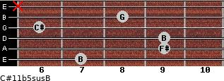 C#11b5sus/B for guitar on frets 7, 9, 9, 6, 8, x