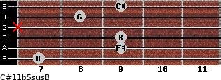 C#11b5sus/B for guitar on frets 7, 9, 9, x, 8, 9