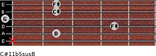 C#11b5sus/B for guitar on frets x, 2, 4, 0, 2, 2