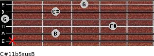 C#11b5sus/B for guitar on frets x, 2, 4, 0, 2, 3