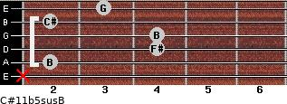 C#11b5sus/B for guitar on frets x, 2, 4, 4, 2, 3