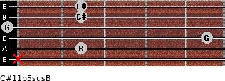 C#11b5sus/B for guitar on frets x, 2, 5, 0, 2, 2