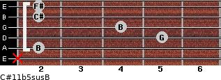 C#11b5sus/B for guitar on frets x, 2, 5, 4, 2, 2