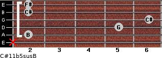 C#11b5sus/B for guitar on frets x, 2, 5, 6, 2, 2