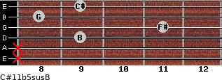 C#11b5sus/B for guitar on frets x, x, 9, 11, 8, 9