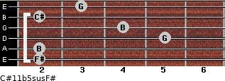 C#11b5sus/F# for guitar on frets 2, 2, 5, 4, 2, 3