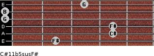 C#11b5sus/F# for guitar on frets 2, 4, 4, 0, 0, 3