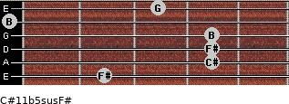 C#11b5sus/F# for guitar on frets 2, 4, 4, 4, 0, 3