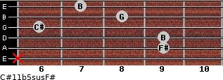 C#11b5sus/F# for guitar on frets x, 9, 9, 6, 8, 7