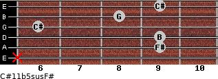 C#11b5sus/F# for guitar on frets x, 9, 9, 6, 8, 9