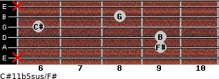 C#11b5sus/F# for guitar on frets x, 9, 9, 6, 8, x