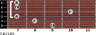 C#11#5 for guitar on frets 9, 8, 7, 10, 7, 7