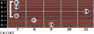 C#11#5 for guitar on frets 9, 8, 7, 11, 7, 7