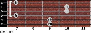 C#11#5 for guitar on frets 9, 9, 7, 10, 10, 7