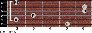 C#11#5/A for guitar on frets 5, 2, 3, 6, 6, 2