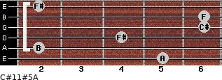 C#11#5/A for guitar on frets 5, 2, 4, 6, 6, 2