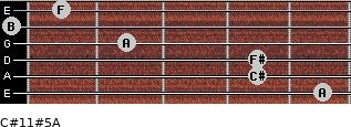 C#11#5/A for guitar on frets 5, 4, 4, 2, 0, 1